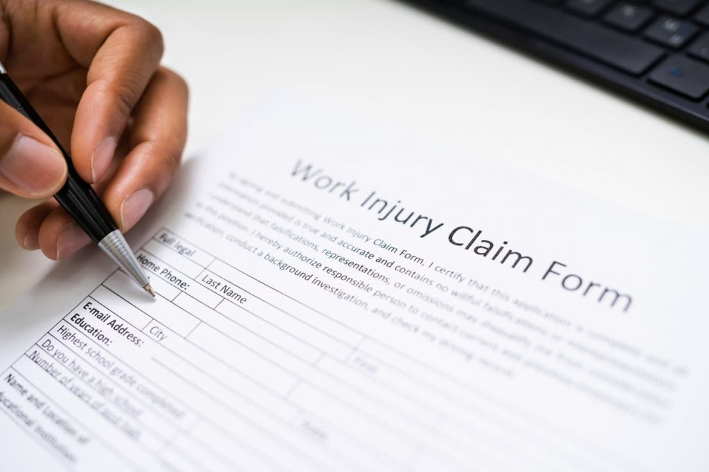 filing out a work injury form